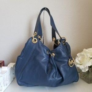 MK Michael Kors Supple Leather Dark Blue Purse